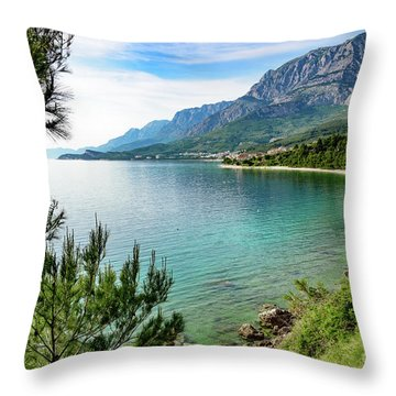Makarska Riviera White Stone Beach, Dalmatian Coast, Croatia Throw Pillow