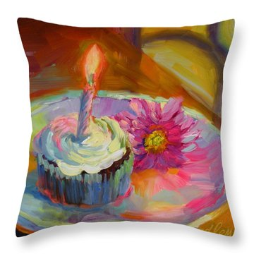 Throw Pillow featuring the painting Make A Wish by Chris Brandley