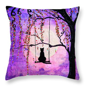 Throw Pillow featuring the mixed media Make A Wish by Natalie Briney