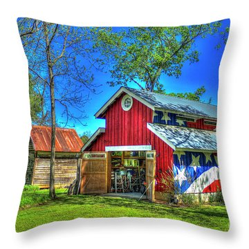 Throw Pillow featuring the photograph Make America Great Again Barn American Flag Art by Reid Callaway