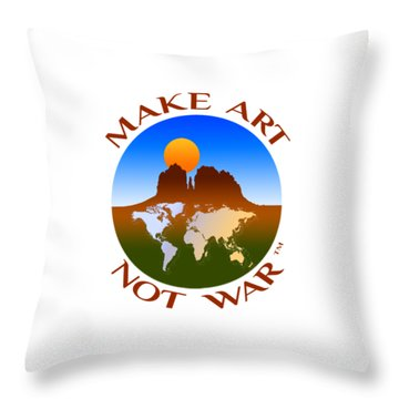 Make Art Not War Logo Throw Pillow