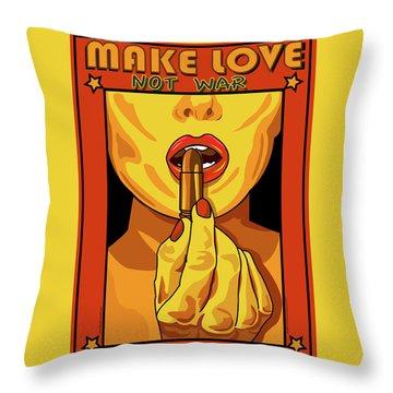 Make Love Not War Pop Art Throw Pillow