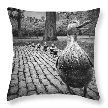 Make Way For Ducklings In Boston Black And White Throw Pillow