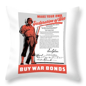 Throw Pillow featuring the painting Make Your Own Declaration Of War by War Is Hell Store