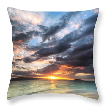 Makena Beach Maui Hawaii Sunset Throw Pillow by Dustin K Ryan