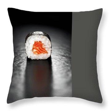 Maki Sushi Roll With Salmon Throw Pillow