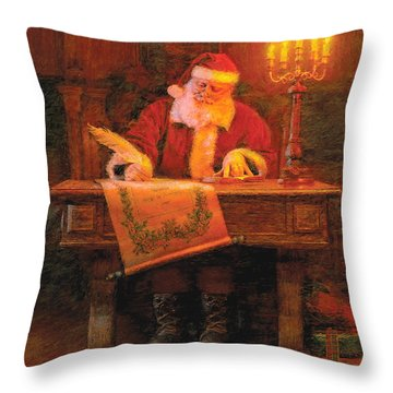Throw Pillow featuring the painting Making A List by Greg Olsen