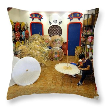 Throw Pillow featuring the photograph Making Chinese Paper Umbrellas by Yali Shi