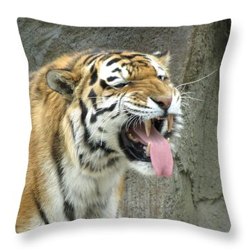 Making Faces Throw Pillow by George Jones