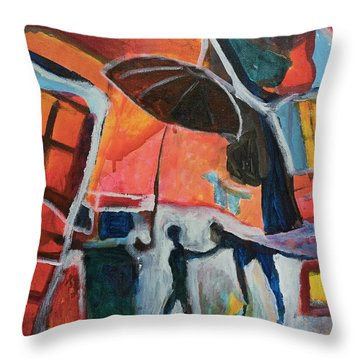 Throw Pillow featuring the painting Making Friends Under The Umbrella by Susan Stone