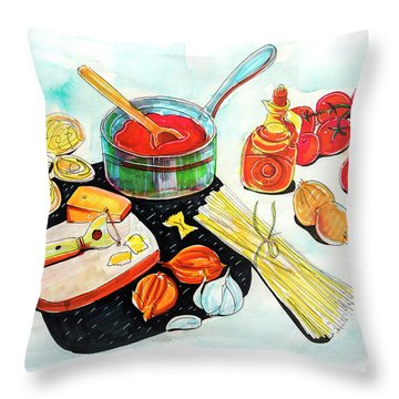 Throw Pillow featuring the drawing making Italian tomato's sauce by Ariadna De Raadt