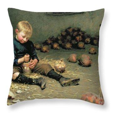 Making Lanterns Throw Pillow by Edward Docker
