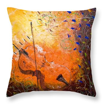 Throw Pillow featuring the painting Making Melody by Piety Dsilva