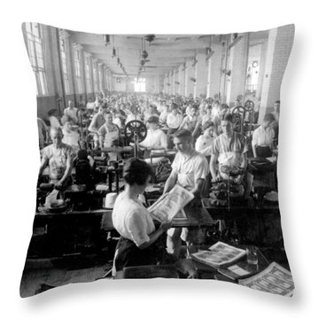 Making Money At The Bureau Of Printing And Engraving - Washington Dc - C 1916 Throw Pillow by International  Images