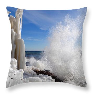 Making More Ice Throw Pillow by Sandra Updyke