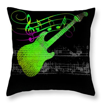 Throw Pillow featuring the digital art Making Music by Guitar Wacky