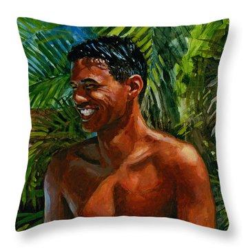 Making Nohea Laugh Throw Pillow by Douglas Simonson