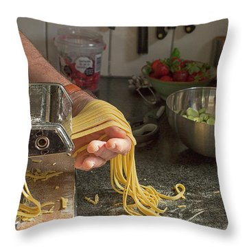 Throw Pillow featuring the photograph Making Pasta by Patricia Hofmeester