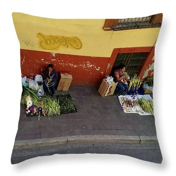 Making Souvenirs On Palm Sunday Throw Pillow