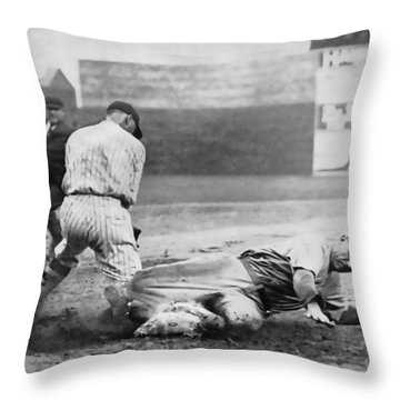Making The Play C. 1920 Throw Pillow by Daniel Hagerman