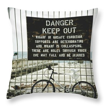 Throw Pillow featuring the photograph Mala Wharf Lahaina Maui Hawaii by Sharon Mau