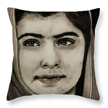 Throw Pillow featuring the drawing Malala Yousafzai- Teen Hero by Michael Cross
