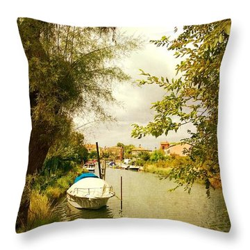 Throw Pillow featuring the photograph Malamocco Canal No1 by Anne Kotan