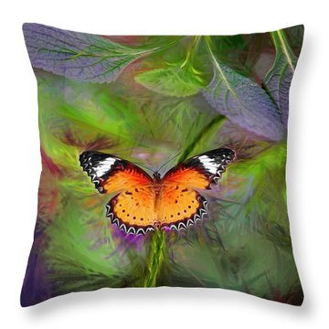 Malay Lacewing  What A Great Place Throw Pillow