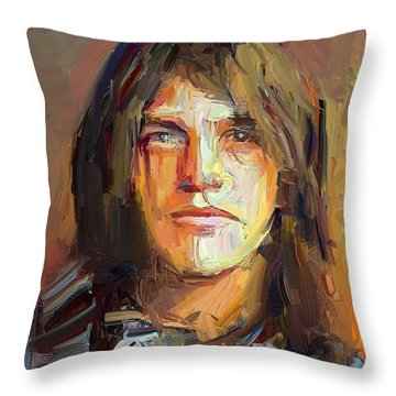 Malcolm Young Acdc Tribute Portrait Throw Pillow