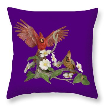Male And Female Cardinals  Throw Pillow