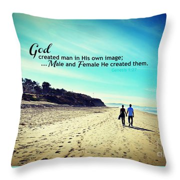 Male And Female He Created Them Throw Pillow