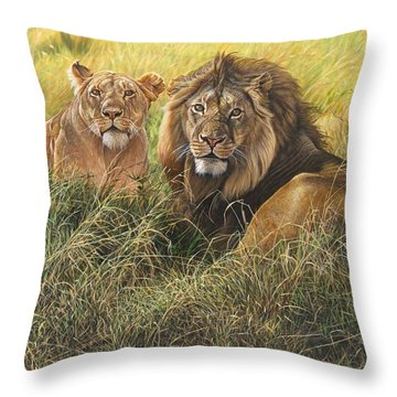 Throw Pillow featuring the painting Male And Female Lion by Alan M Hunt
