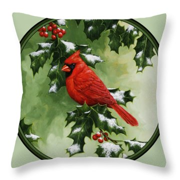 Male Cardinal And Holly Phone Case Throw Pillow