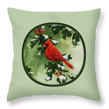 Male Cardinal And Holly Phone Case Throw Pillow by Crista Forest