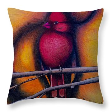 Throw Pillow featuring the painting Male Cardinal by Fanny Diaz