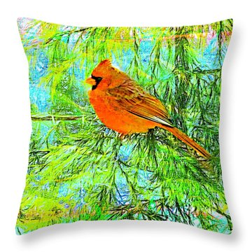 Male Cardinal In Juniper Tree Throw Pillow