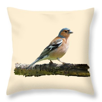 Throw Pillow featuring the photograph Male Chaffinch, Transparent Background by Paul Gulliver