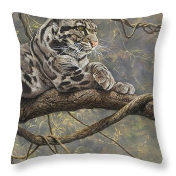 Throw Pillow featuring the painting Male Clouded Leopard by Alan M Hunt