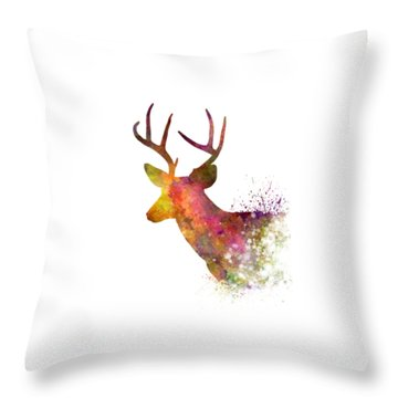 Male Deer 02 In Watercolor Throw Pillow by Pablo Romero
