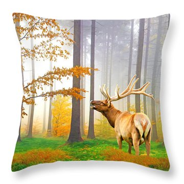 Male Elk Bugling Throw Pillow