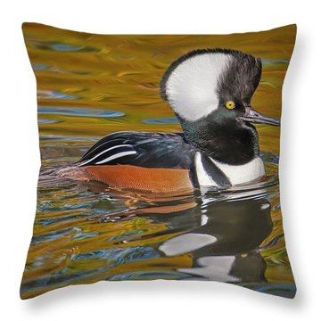Throw Pillow featuring the photograph Male Hooded Merganser Duck by Susan Candelario