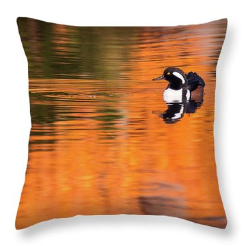 Male Hooded Merganser In Autumn Throw Pillow