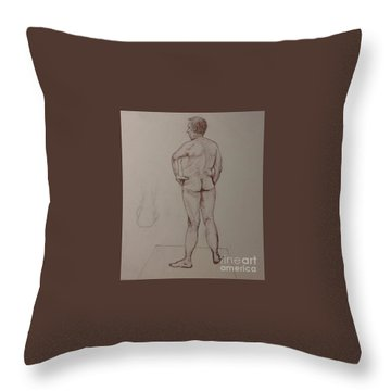 Male Life Drawing Throw Pillow