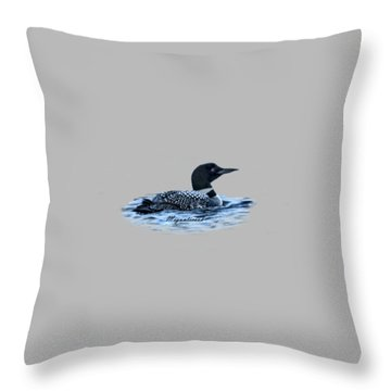 Male Mating Common Loon Throw Pillow by Daniel Hebard