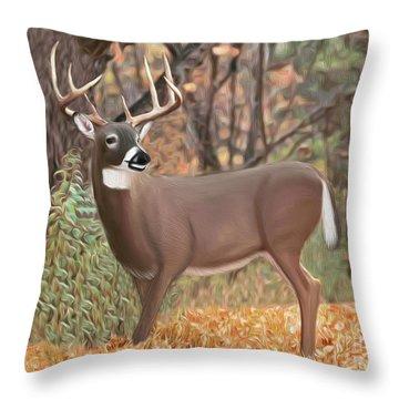 Male Mule Deer Painting Throw Pillow