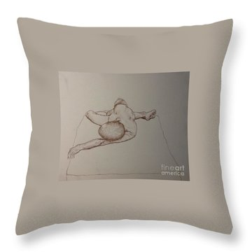 Male Nude Life Drawing Throw Pillow