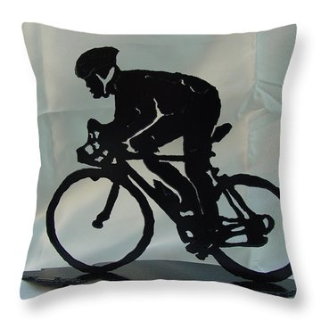 Male Road Racer Throw Pillow by Steve Mudge