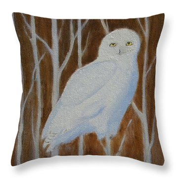 Male Snowy Owl Portrait Throw Pillow
