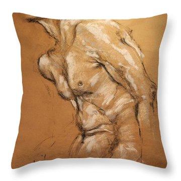 Male Torso Throw Pillow by Debora Cardaci
