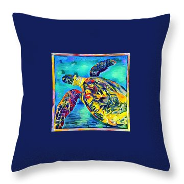 Throw Pillow featuring the digital art Malia The Turtle by Erika Swartzkopf